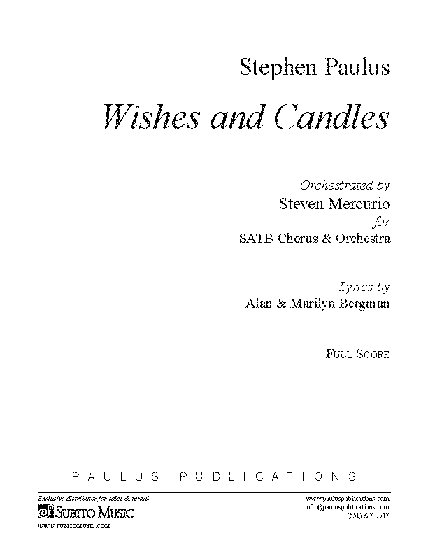 Wishes and Candles (Orch. version) for SATB Chorus & Orchestra